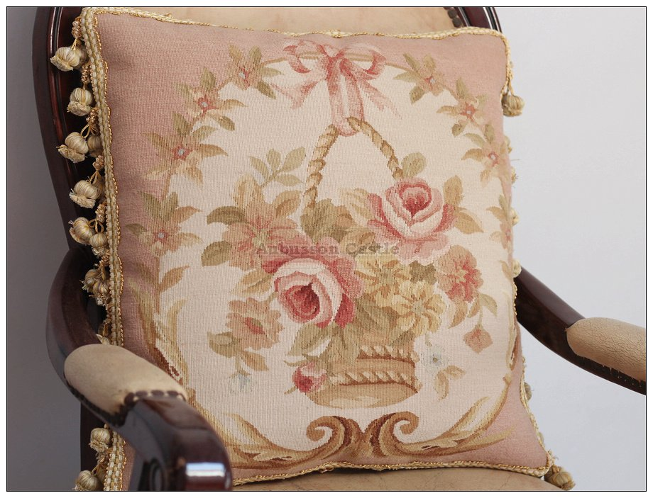 "BIG 18"" SHABBY PINK CHIC ROSE Aubusson Pillow Wool Woven Velvet Back Cushion NEW"