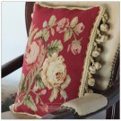 RED Chic Aubusson Pillow Cushion YELLOW PINK ROSE FLORAL 16X12 Wool Hand Woven
