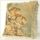 Antique Decor Fish Aubusson Tapestry Throw Pillow French Home Chair Sofa Cushion