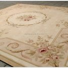 "8'2"" SQUARE Aubusson Area Rug ANTIQUE FRENCH NEUTRAL PASTEL Wool Handmade Carpet"