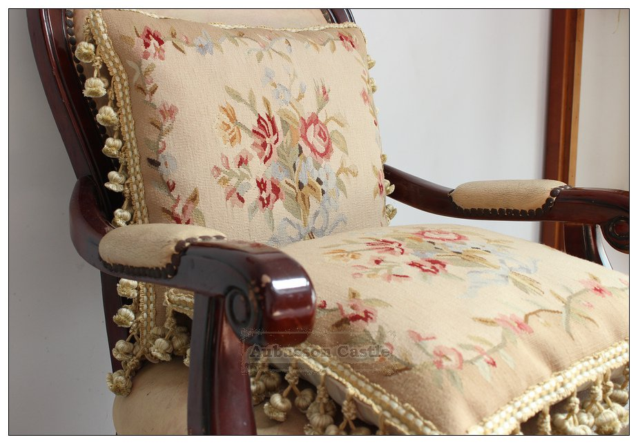 A Pair! RIBBON ROSES Aubusson Pillow Cushion Vintage French Home Decor Cushion