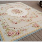 8X10 LIGHT BLUE CREAM French Aubusson Rug SHABBY PINK CHIC Wool Ivory Carpet NEW
