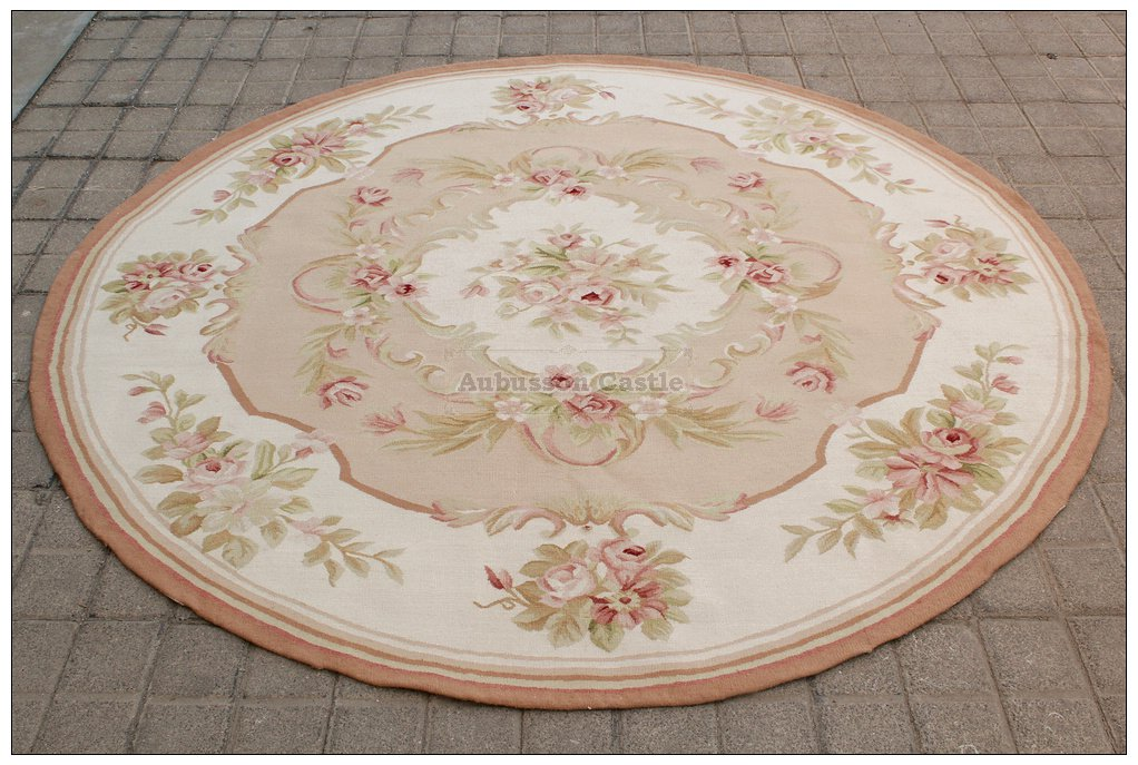 6X6 ROUND Shabby French Chic Aubusson Rug LIGHT PINK IVORY CREAM Pastel Carpet