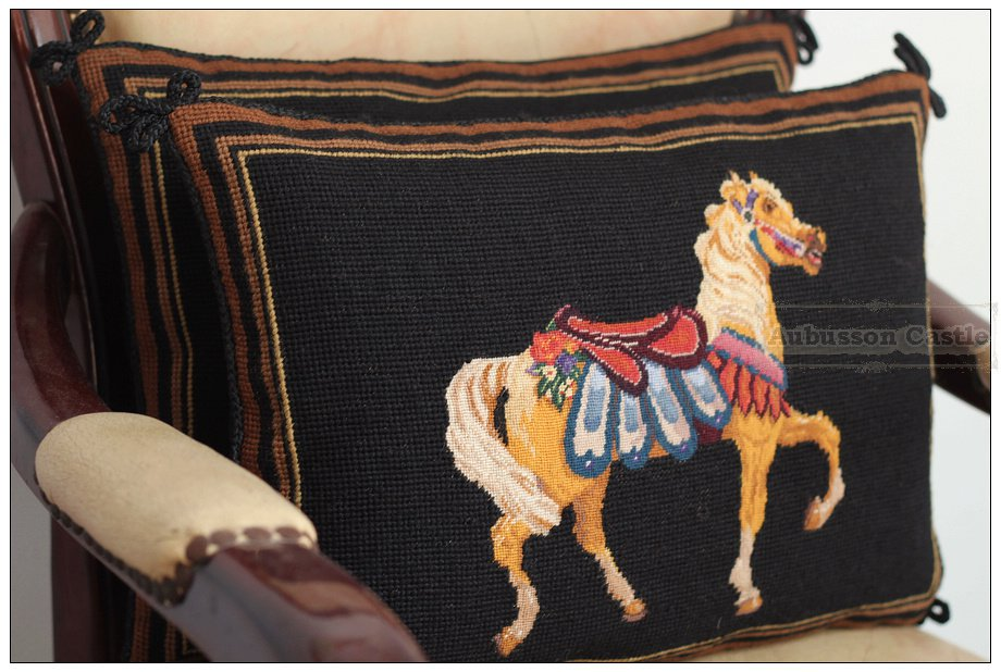PAIR! Chic Needlepoint HORSE Pillow Bed Chair Sofa Cushion BLACK GOLD Wool Cover