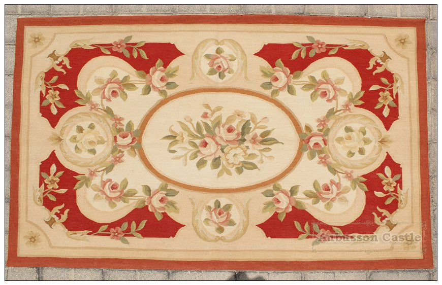 Chic 3X5 Woven Aubusson Area Rug Red Ivory Cream w Pink Wool French Home Carpet