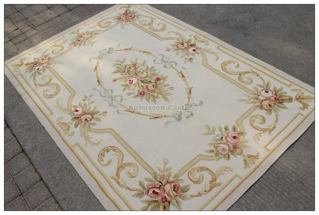 4X6 Pastel Aubusson Area Rug LIGHT GREY GRAY w GOLD PINK Wool French Rose Carpet