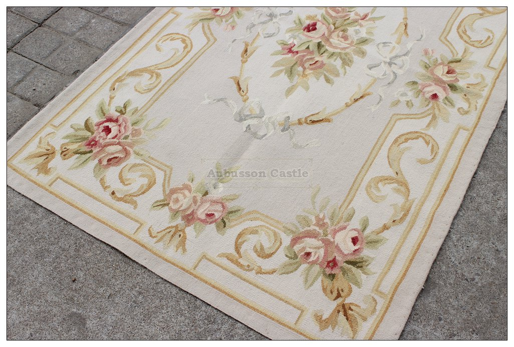 3X5 Pastel Aubusson Area Rug LIGHT GREY GRAY w GOLD PINK Wool French Rose Carpet