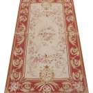 "2'3""X4'8 Antique French Style Aubusson Area Rug Mat Wool Hand Woven Home Carpet"