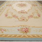 10X14 LIGHT BLUE CREAM French Aubusson Rug SHABBY PINK CHIC Wool Ivory Carpet NEW