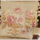 "16"" SHABBY PINK CHIC Aubusson Cottage Pillow French Decorative Sofa Bed Cushion WOOL"