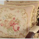 A PAIR! SUBTLE PINK QUEEN 18X14 Aubusson Pillow Shabby French Chic Rose Chair Bed Sofa Cushion
