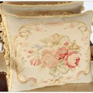 A PAIR! 18X14 Chic Aubusson Pillow LIGHT BLUE IVORY PINK Sofa Chair Decorative Cushion