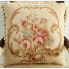 "18"" BEIGE CREAM PINK Aubusson Cottage Pillow WOOL French Rose Cushion Cover NEW!"