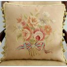 "Vintage French Decor 16"" Aubusson Pillow ""ROSE ROMANCE"" Handmade Wool Cushion"