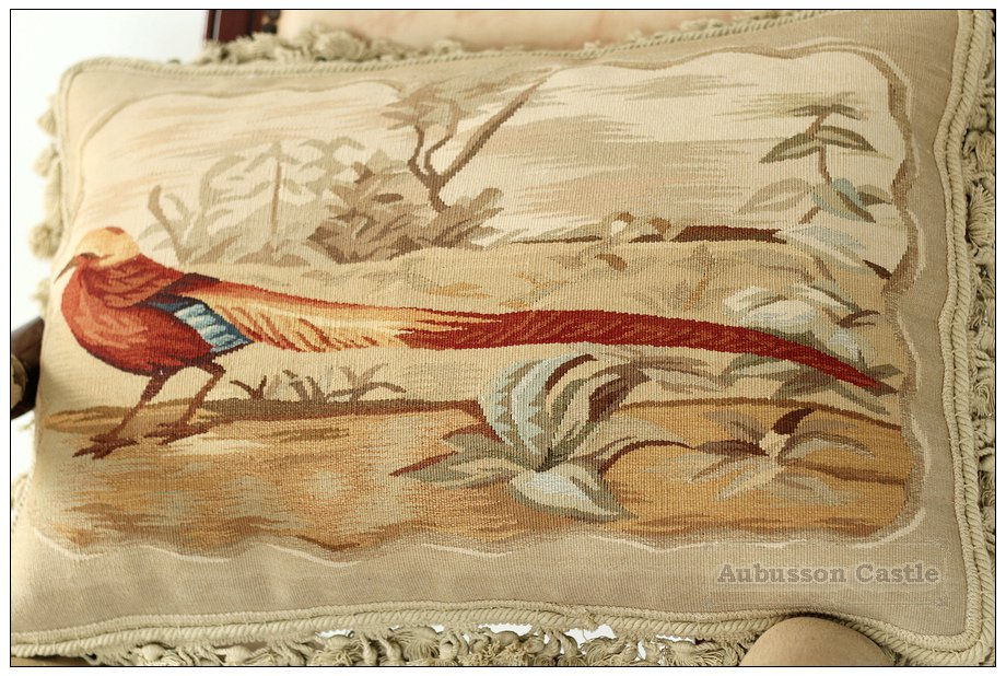 """22"""" PHEASANT II Aubusson Tapestry Pillow Cover $600 Chair Sofa Bedding Decor NEW"""