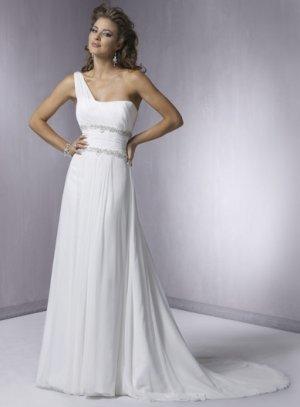 Nice Beaded One-shoulder Chiffon Wedding Dress WN0081