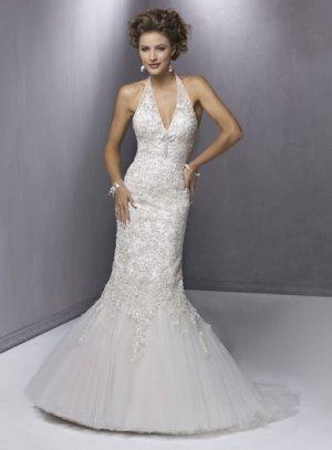 Appliqued Halter Mermaid V-neck Wedding Dress WN0160
