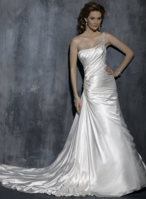 Gorgeous Pleated One-shoulder A-line Wedding Dress WN0393