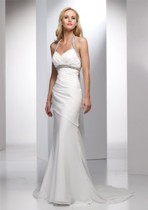 Beaded Halter Mermaid Chiffon Wedding Dress AI0018