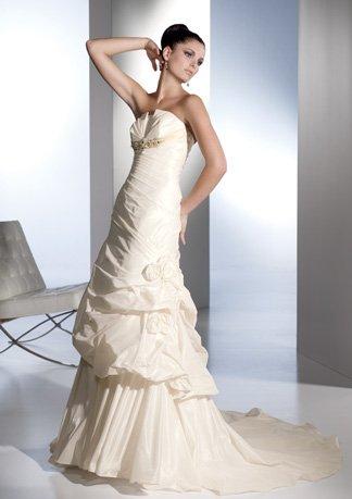 Slim Style Beaded Strapless Taffeta Wedding Dress AI0022