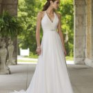 Beaded Halter V-neck Chiffon Wedding Dress MC0006