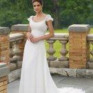 Gorgeous Scoop Neckline Cap Sleeve A-line Wedding Dress MC0007