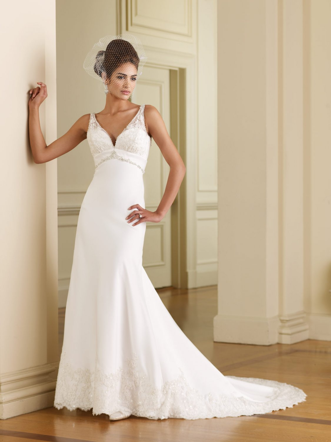 Scatter Appliqued and Beaded Empire A-line Wedding Dress MC0010