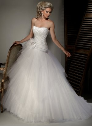Skillfully Pleated Strapless A-line Wedding Dress WM0004
