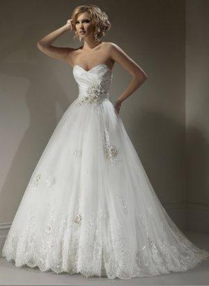 Sweetheart Strapless Empire A-line Wedding Dress WM0006