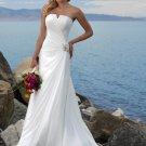 Asymmetrically Wraped Strapless A-line Chiffon Wedding Dress WM0007