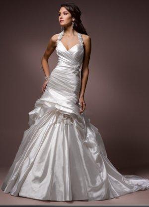 Asymmetrically Wraped A-line Wedding Dress with Detachable Strap WM0021
