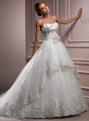 Nice Appliqued Strapless Empire A-line Wedding Dress WM0029