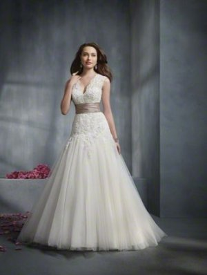 Stunning V-neck Empire A-line Wedding Dress AA0003