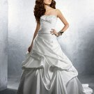 Sexy Ruffled Strapless A-line Satin Wedding Dress AA0004