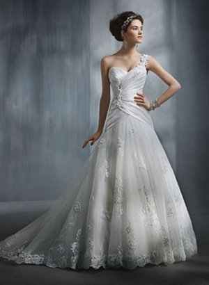 Gorgeous Sweethearted One-shoulder A-line Wedding Dress AA0005