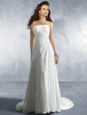 Scatter Beaded Strapless A-line Wedding Dress AA0062