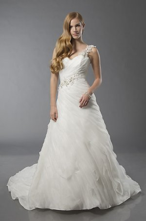 Pleated Sweetheart One-Shoulder A-line Wedding Dress AS0003