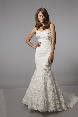 Heavily Pleated Strapless Mermaid Wedding Dress AS0013