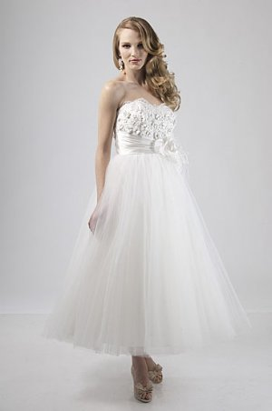 Flowers Bodice Sweetheart Strapless Short Wedding Dress AS0024