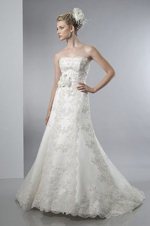 Scatter Beaded Strapless A-line Lace Wedding Dress AS0026