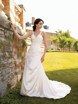 MC0031 Skillfully Pleated Spaghetti Strap A-line Wedding Dress