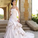 MC0038 Gorgeous Gathered Ball Gown Flowers Decorated Wedding Dress