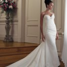 MC0044 Skillfully Pleated Sweetheart Strapless Trumpet Wedding Dress