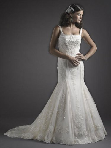 Bateau Neckline Spaghetti Strap Wedding Dress JC0023