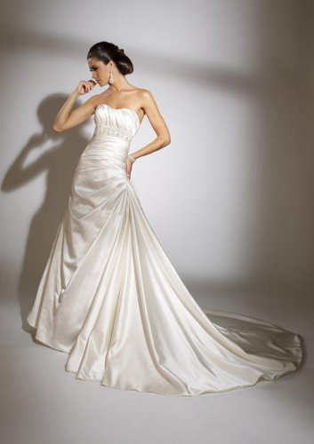 Beaded Strapless A-line Satin Wedding Dress JC0004