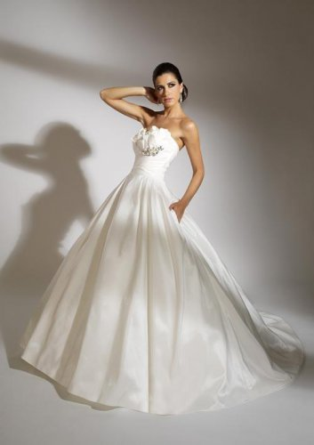 Strapless A-line Taffeta Wedding Dress JC0003