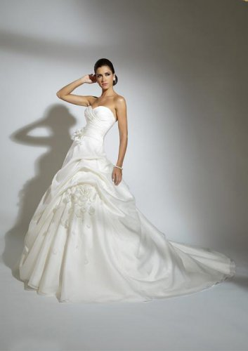 Flowers Sweetheart Strapless Organza Wedding Dress JC0001