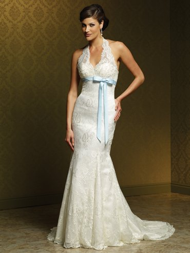 Wedding Dresses/ Wedding Gowns -- Halter Lace Bridal Gown MS0005