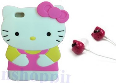 Hello kitty 3D Hot Pink Ipod Touch 4 Soft Silicone Case Cover For iPod touch 4 4th Generation