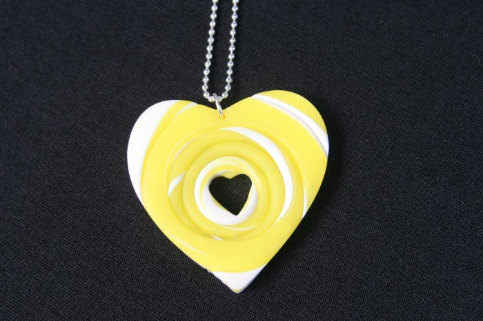 Yellow and White Heart Necklace